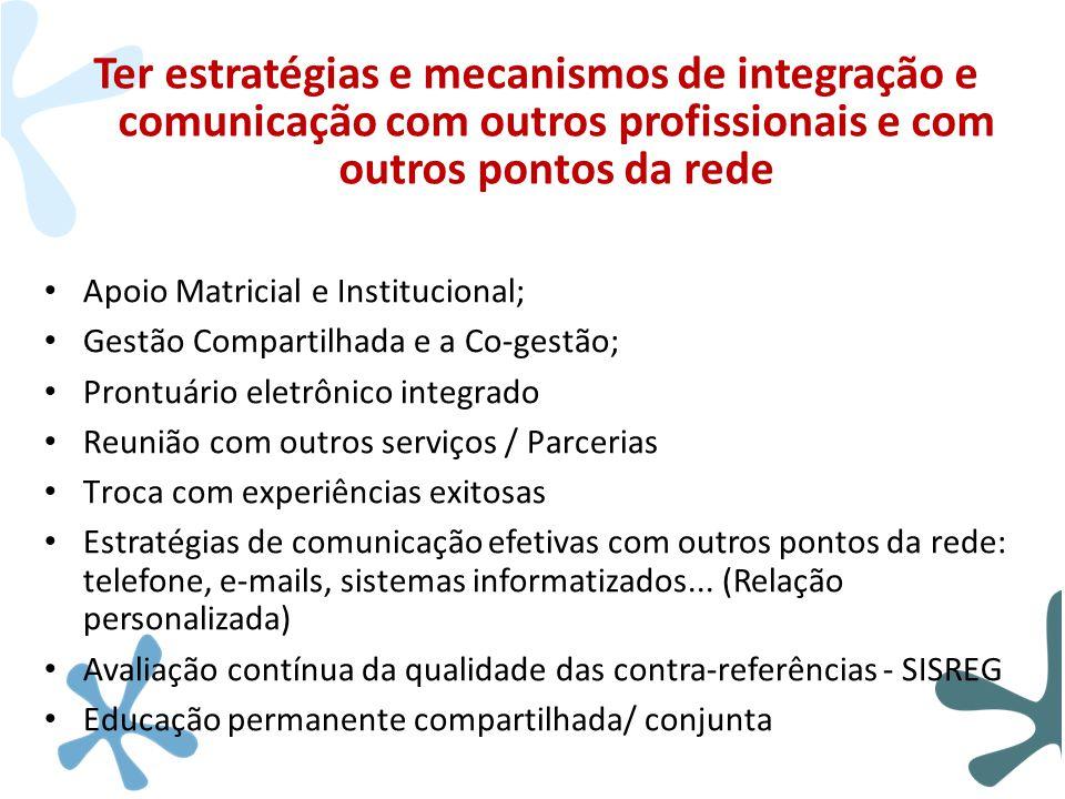 Ter estratégias e mecanismos de integração e comunicação com outros profissionais e com outros pontos da rede
