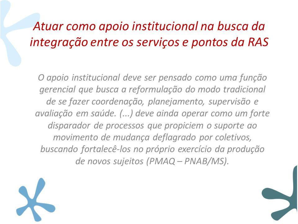 Atuar como apoio institucional na busca da integração entre os serviços e pontos da RAS