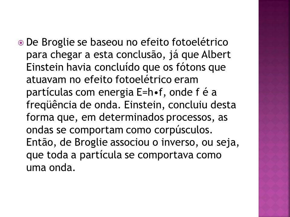 De Broglie se baseou no efeito fotoelétrico para chegar a esta conclusão, já que Albert Einstein havia concluído que os fótons que atuavam no efeito fotoelétrico eram partículas com energia E=h•f, onde f é a freqüência de onda.