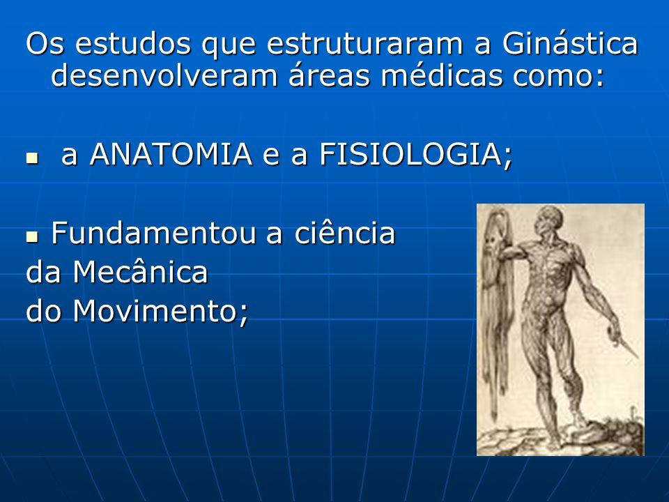 Os estudos que estruturaram a Ginástica desenvolveram áreas médicas como: