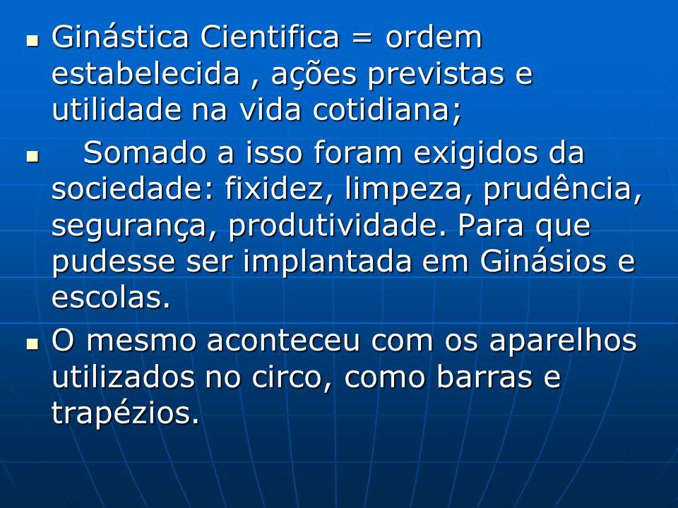 Ginástica Cientifica = ordem estabelecida , ações previstas e utilidade na vida cotidiana;