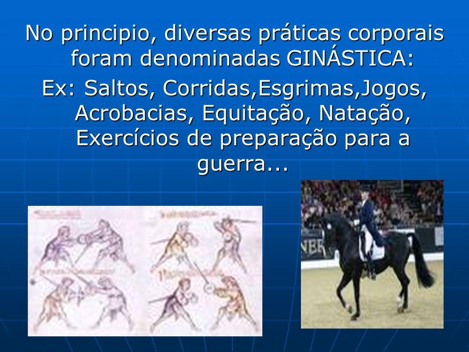 No principio, diversas práticas corporais foram denominadas GINÁSTICA: