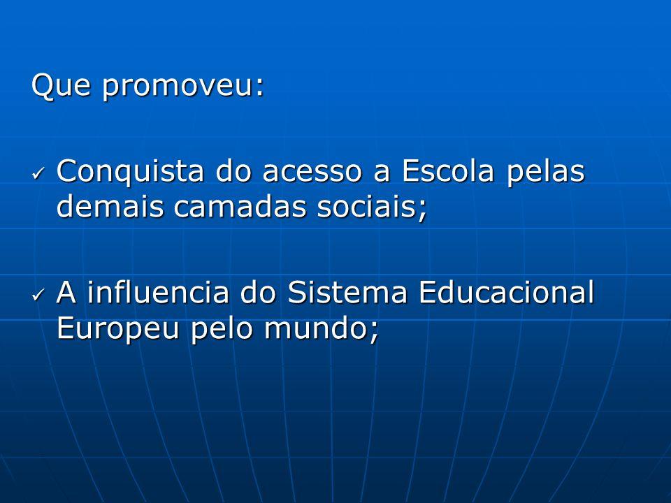 Que promoveu: Conquista do acesso a Escola pelas demais camadas sociais; A influencia do Sistema Educacional Europeu pelo mundo;