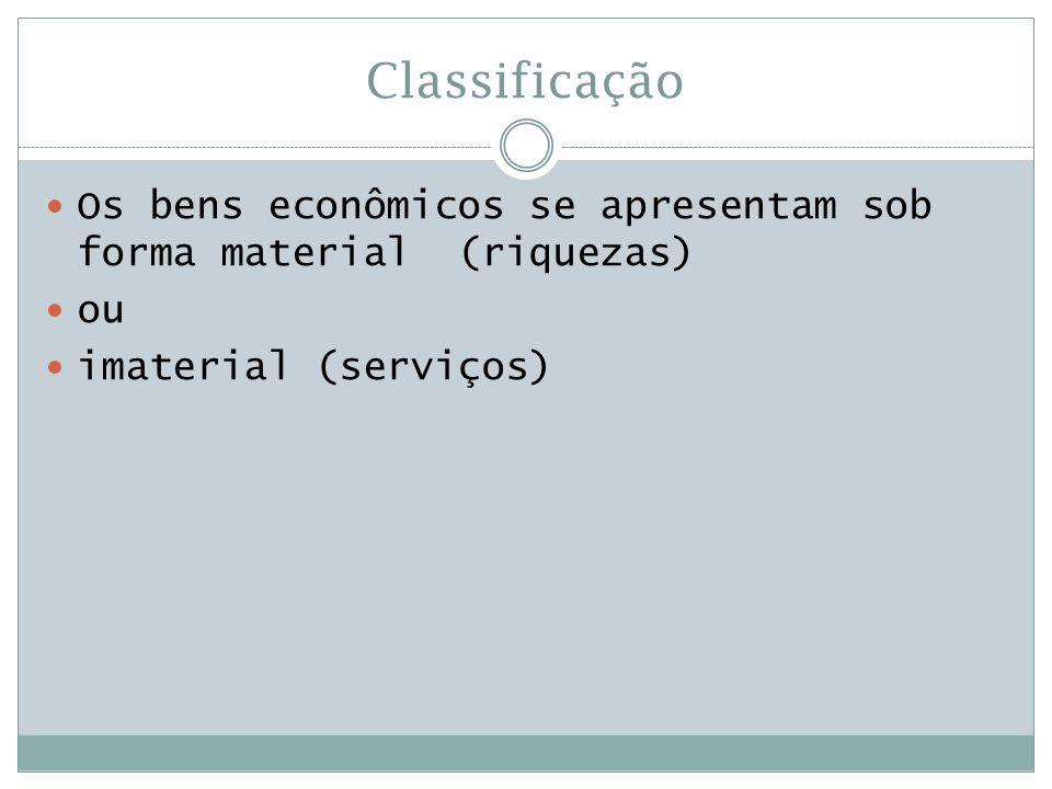 Classificação Os bens econômicos se apresentam sob forma material (riquezas) ou.