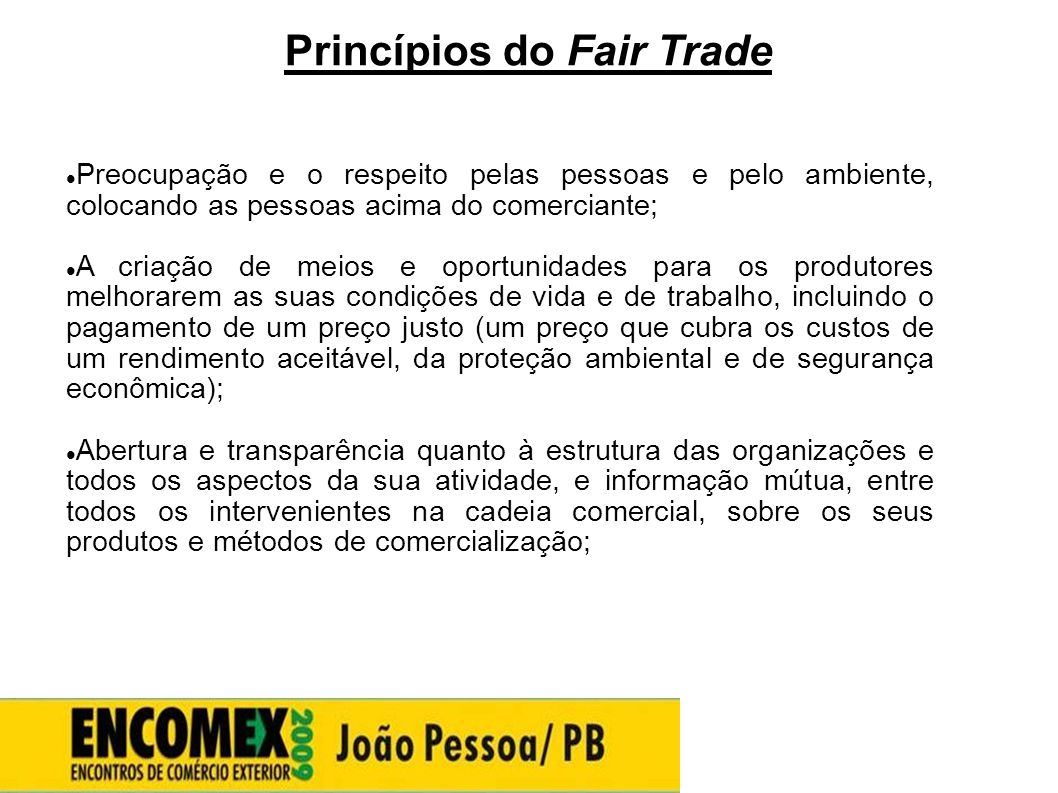 Princípios do Fair Trade