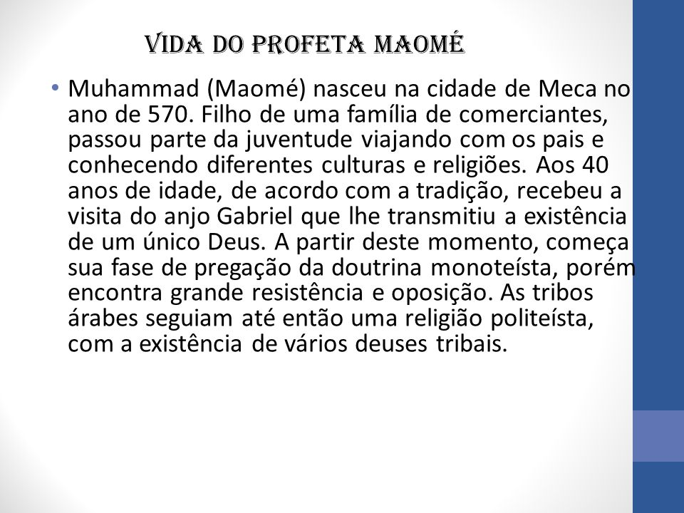 Vida do profeta Maomé