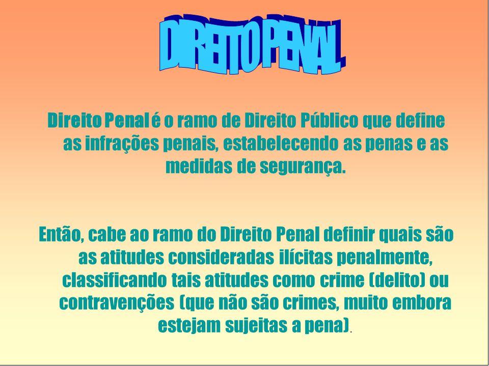 DIREITO PENAL Direito Penal é o ramo de Direito Público que define as infrações penais, estabelecendo as penas e as medidas de segurança.