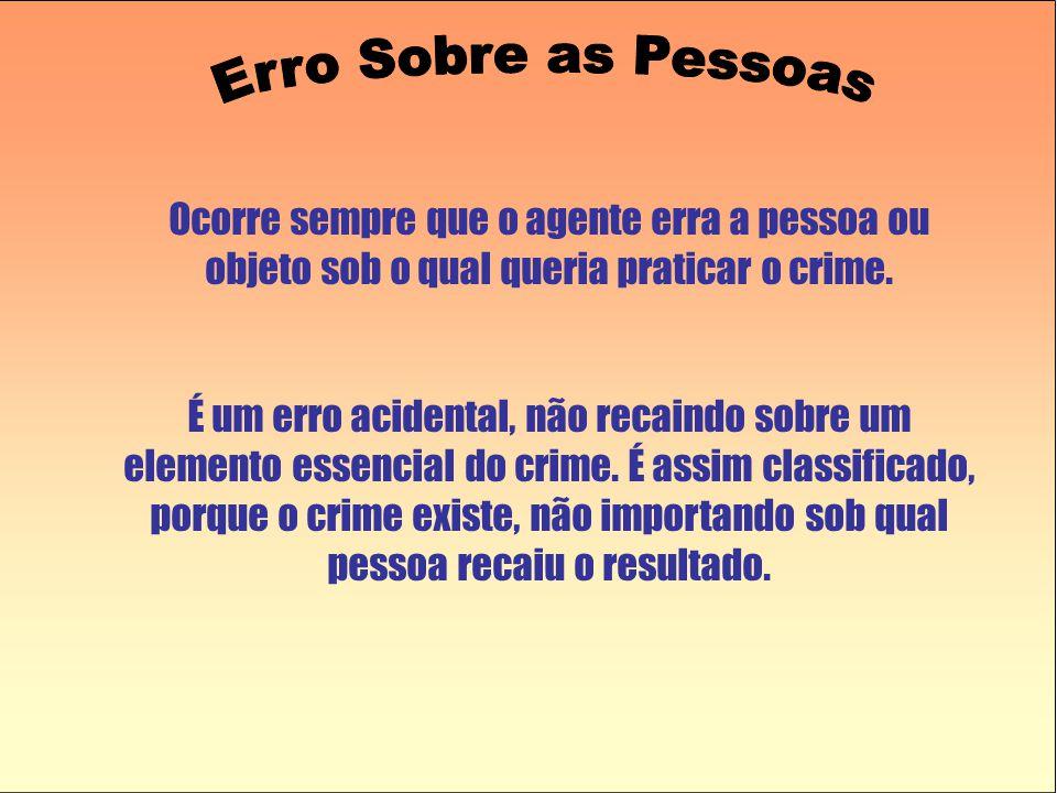 Erro Sobre as Pessoas Ocorre sempre que o agente erra a pessoa ou objeto sob o qual queria praticar o crime.