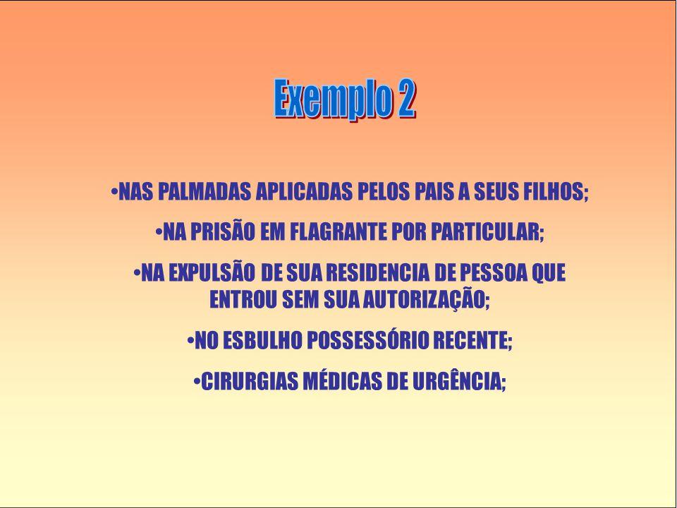 Exemplo 2 NAS PALMADAS APLICADAS PELOS PAIS A SEUS FILHOS;