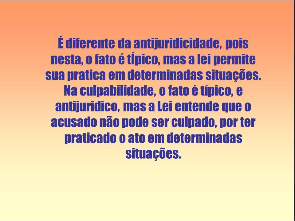 É diferente da antijuridicidade, pois nesta, o fato é tÍpico, mas a lei permite sua pratica em determinadas situações.