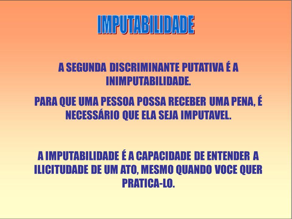 A SEGUNDA DISCRIMINANTE PUTATIVA É A INIMPUTABILIDADE.