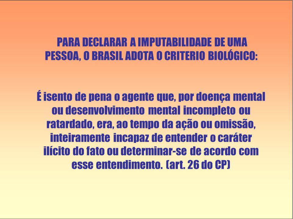 PARA DECLARAR A IMPUTABILIDADE DE UMA PESSOA, O BRASIL ADOTA O CRITERIO BIOLÓGICO: