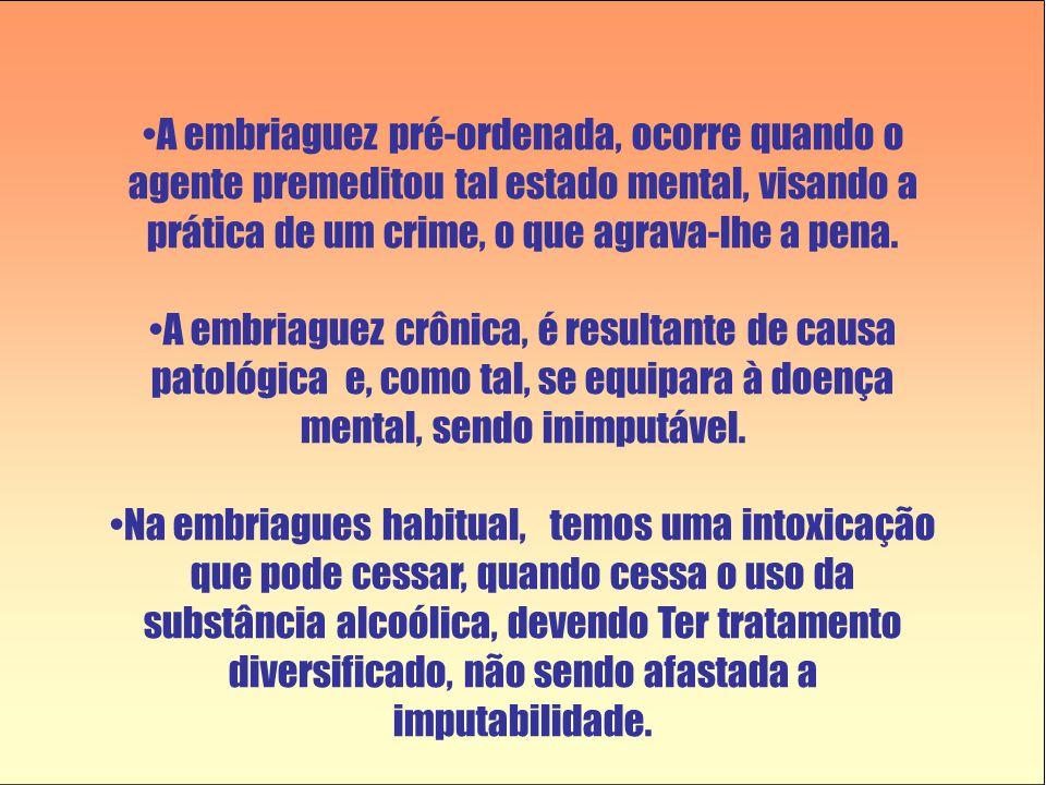 A embriaguez pré-ordenada, ocorre quando o agente premeditou tal estado mental, visando a prática de um crime, o que agrava-lhe a pena.