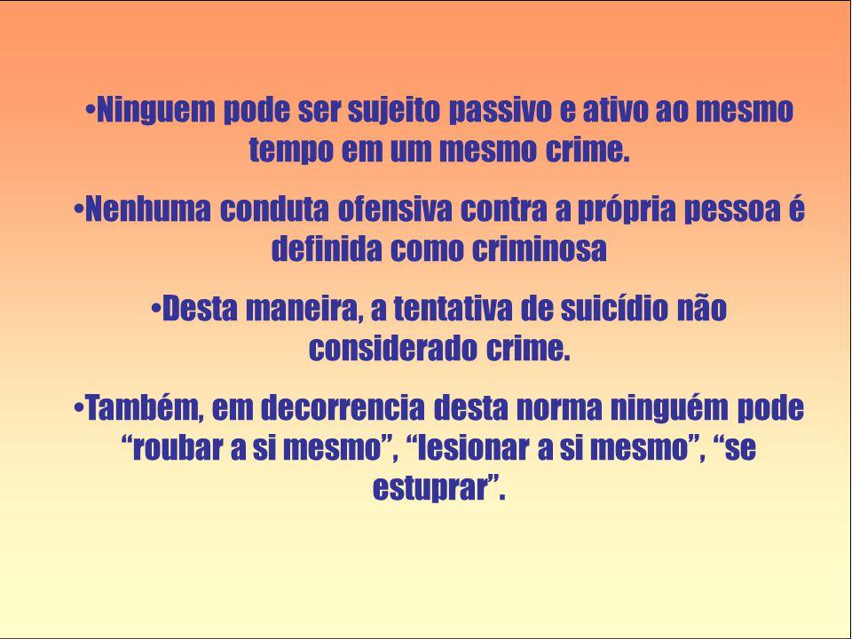 Desta maneira, a tentativa de suicídio não considerado crime.