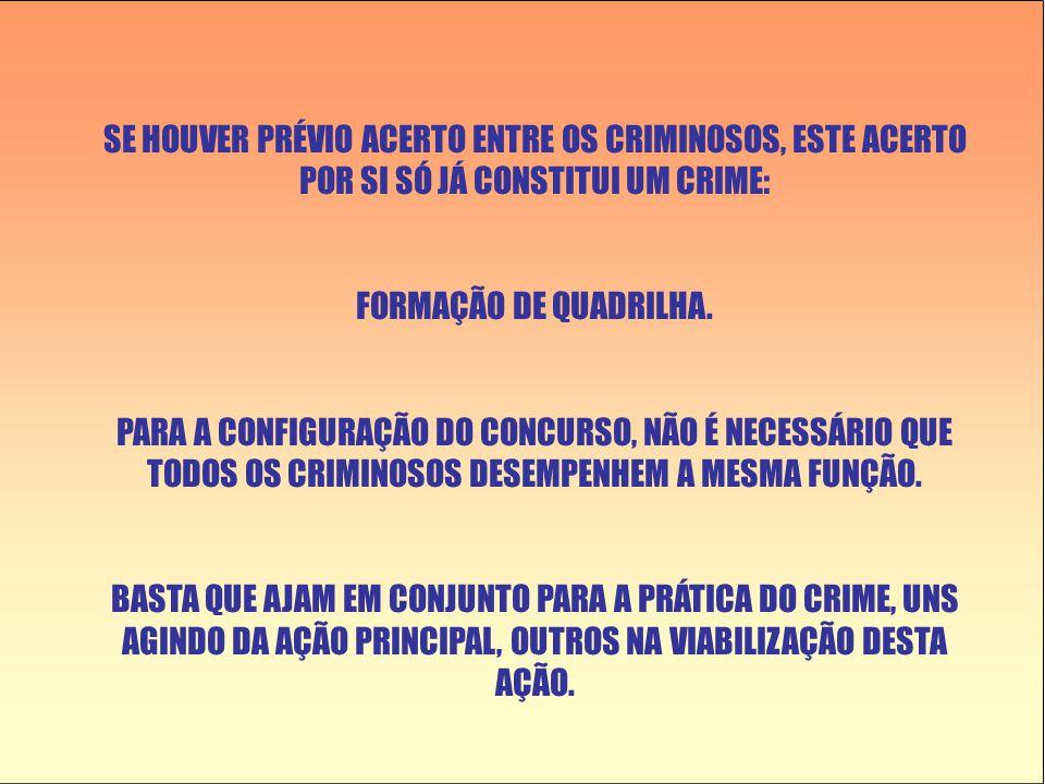 SE HOUVER PRÉVIO ACERTO ENTRE OS CRIMINOSOS, ESTE ACERTO POR SI SÓ JÁ CONSTITUI UM CRIME: