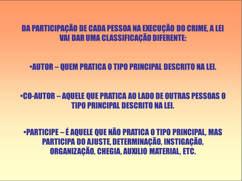 AUTOR – QUEM PRATICA O TIPO PRINCIPAL DESCRITO NA LEI.