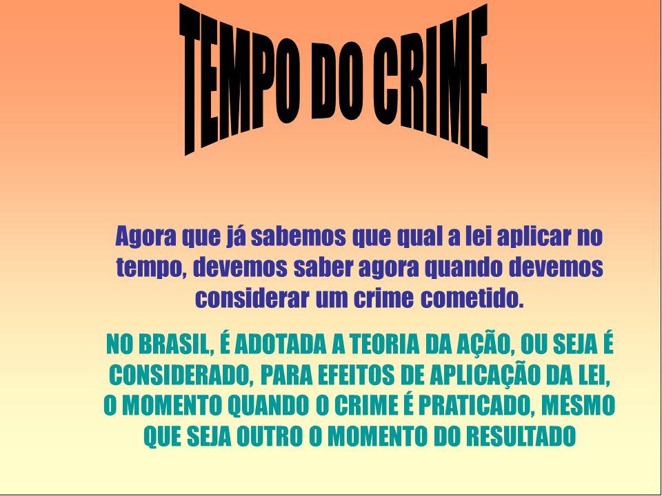 TEMPO DO CRIME Agora que já sabemos que qual a lei aplicar no tempo, devemos saber agora quando devemos considerar um crime cometido.