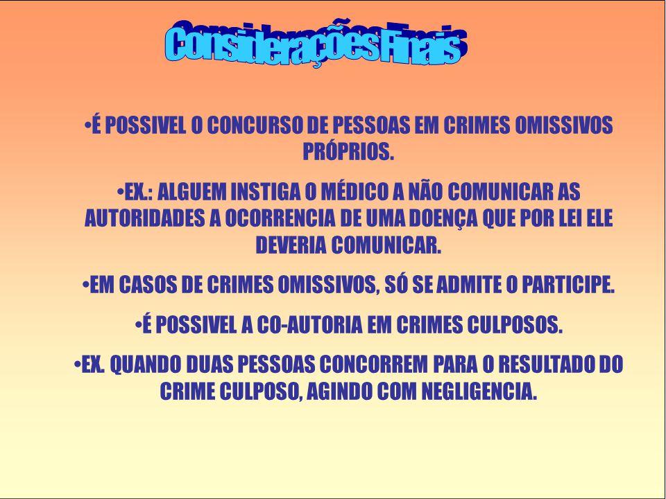 Considerações Finais É POSSIVEL O CONCURSO DE PESSOAS EM CRIMES OMISSIVOS PRÓPRIOS.
