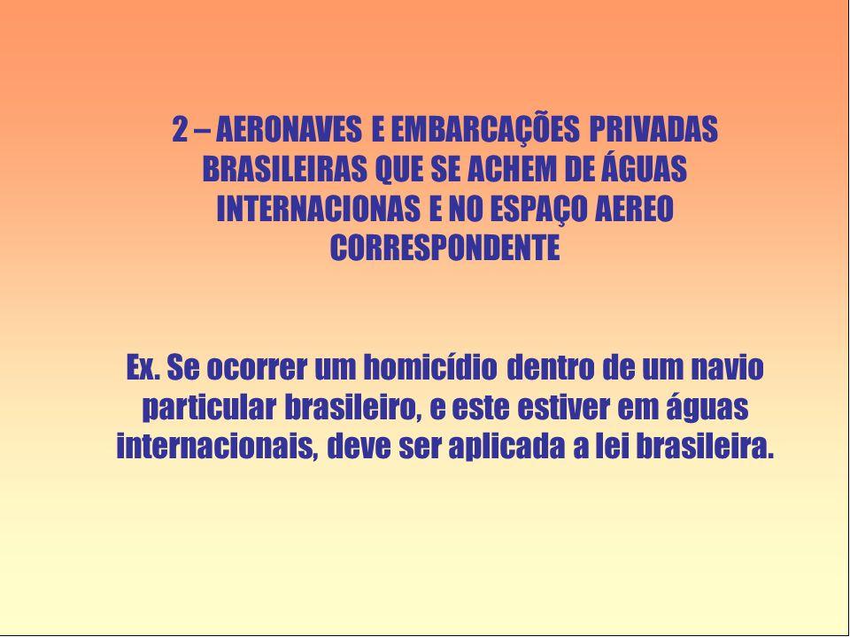 2 – AERONAVES E EMBARCAÇÕES PRIVADAS BRASILEIRAS QUE SE ACHEM DE ÁGUAS INTERNACIONAS E NO ESPAÇO AEREO CORRESPONDENTE