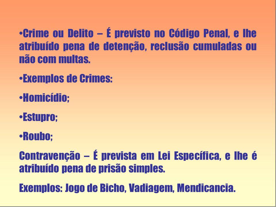 Crime ou Delito – É previsto no Código Penal, e lhe atribuído pena de detenção, reclusão cumuladas ou não com multas.