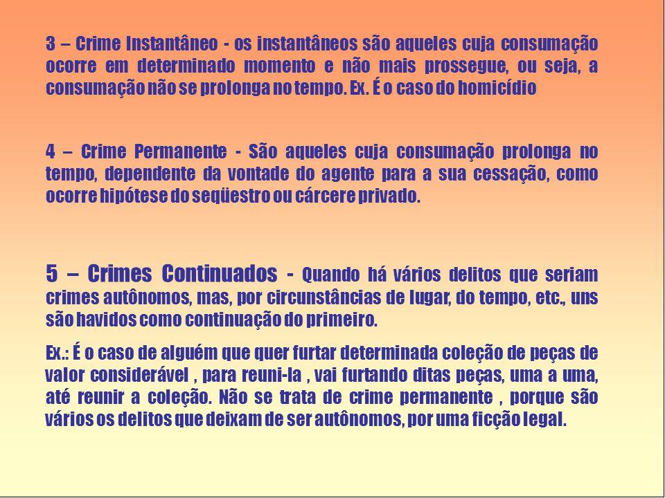 3 – Crime Instantâneo - os instantâneos são aqueles cuja consumação ocorre em determinado momento e não mais prossegue, ou seja, a consumação não se prolonga no tempo. Ex. É o caso do homicídio
