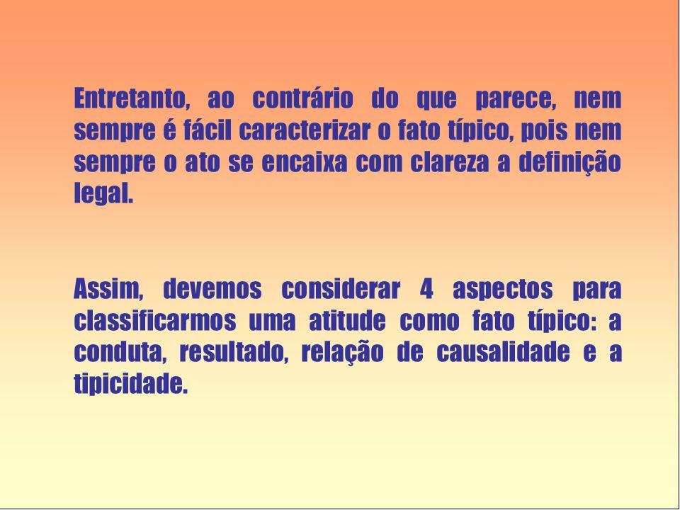 Entretanto, ao contrário do que parece, nem sempre é fácil caracterizar o fato típico, pois nem sempre o ato se encaixa com clareza a definição legal.