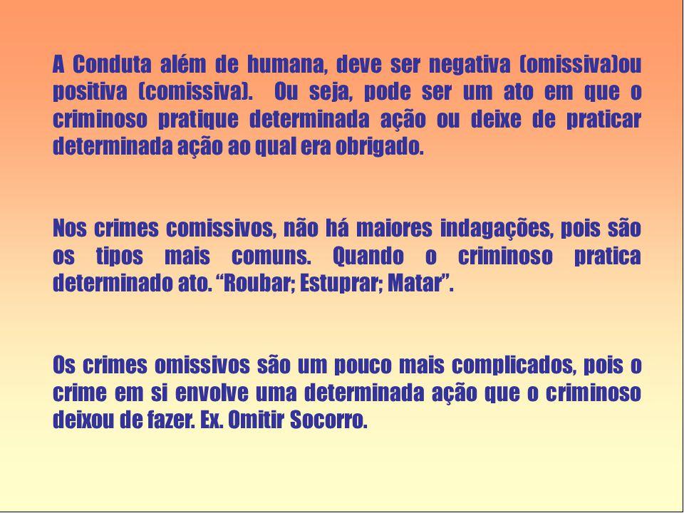 A Conduta além de humana, deve ser negativa (omissiva)ou positiva (comissiva). Ou seja, pode ser um ato em que o criminoso pratique determinada ação ou deixe de praticar determinada ação ao qual era obrigado.