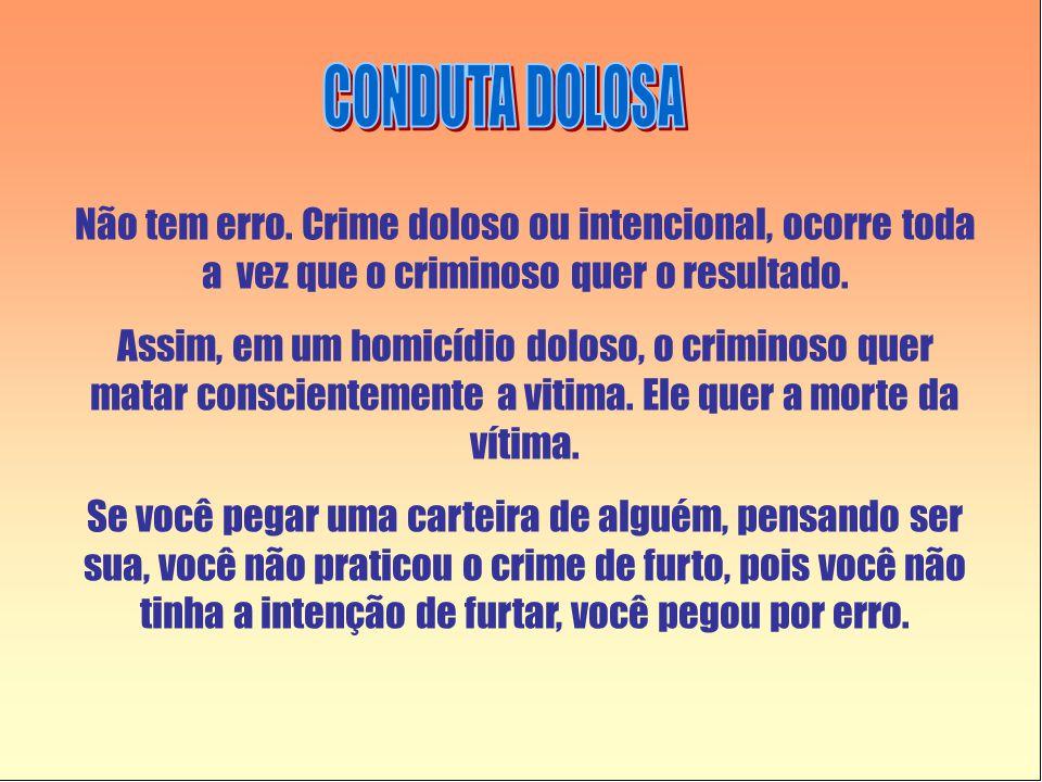 CONDUTA DOLOSA Não tem erro. Crime doloso ou intencional, ocorre toda a vez que o criminoso quer o resultado.