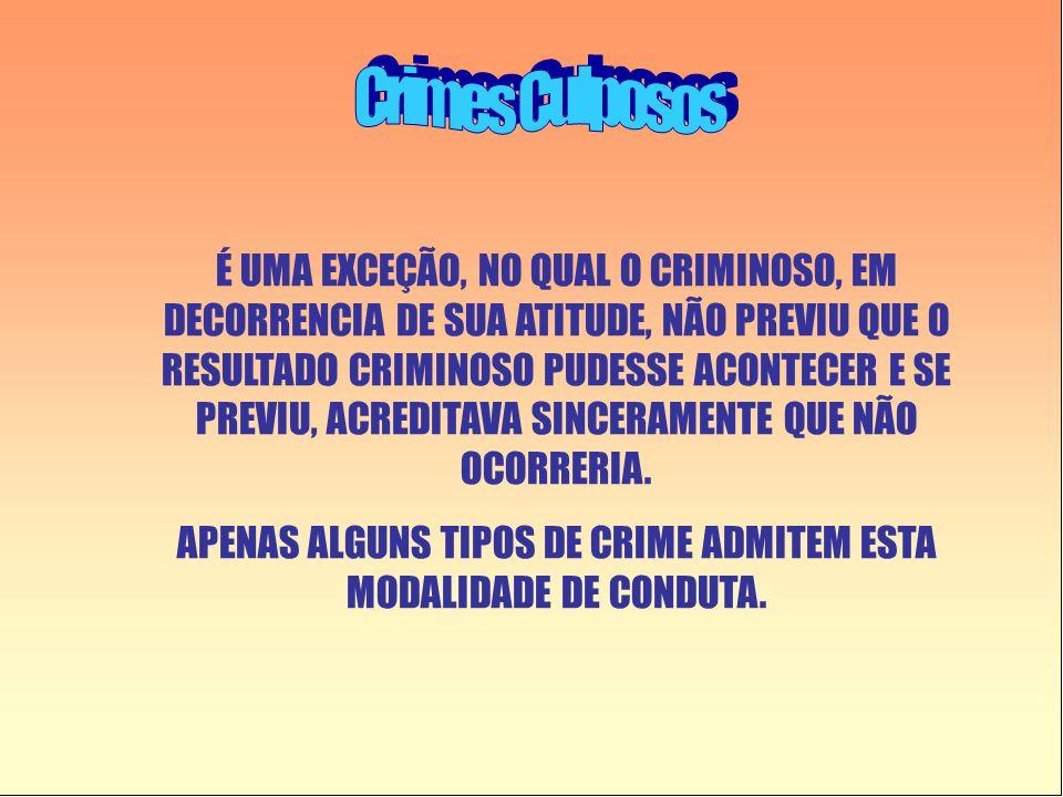 APENAS ALGUNS TIPOS DE CRIME ADMITEM ESTA MODALIDADE DE CONDUTA.