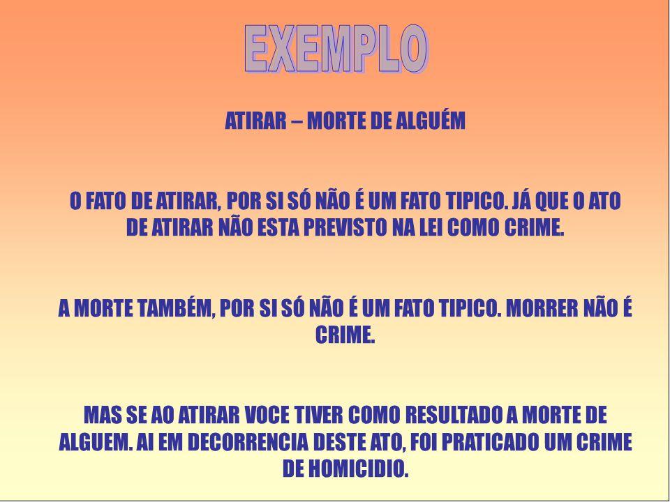 EXEMPLO ATIRAR – MORTE DE ALGUÉM