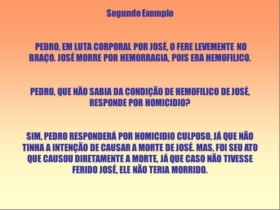 Segundo Exemplo PEDRO, EM LUTA CORPORAL POR JOSÉ, O FERE LEVEMENTE NO BRAÇO. JOSÉ MORRE POR HEMORRAGIA, POIS ERA HEMOFILICO.