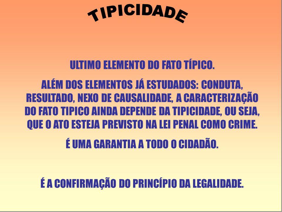 TIPICIDADE ULTIMO ELEMENTO DO FATO TÍPICO.