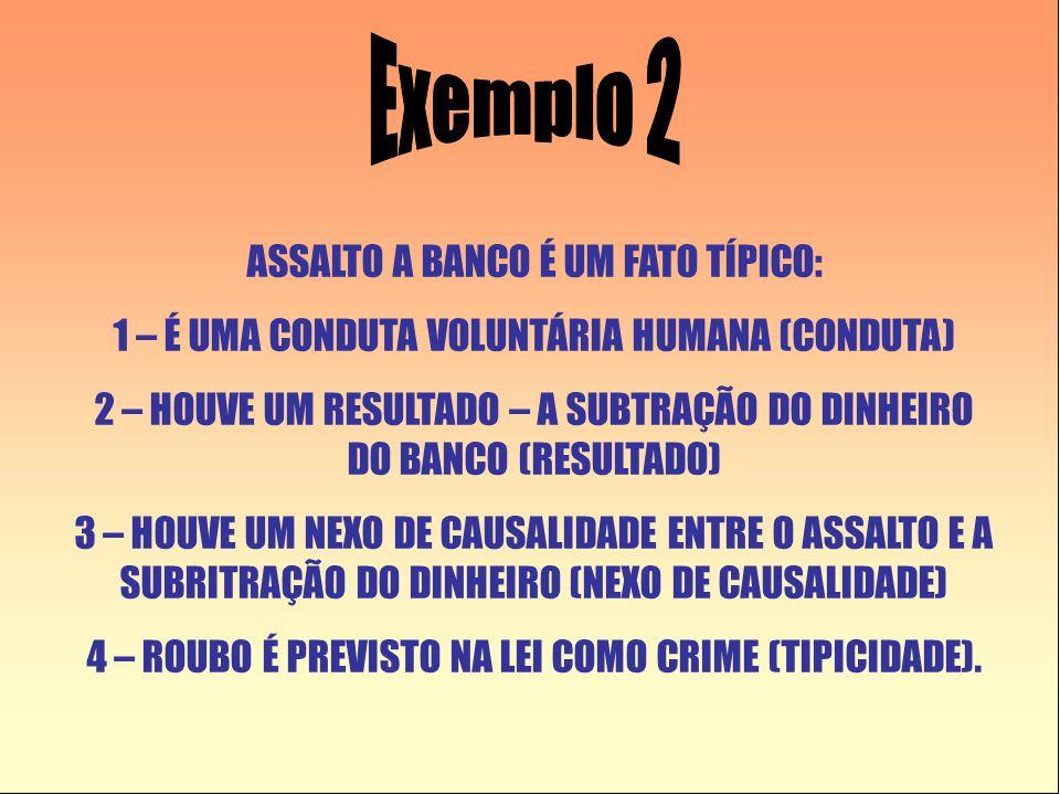 Exemplo 2 ASSALTO A BANCO É UM FATO TÍPICO: