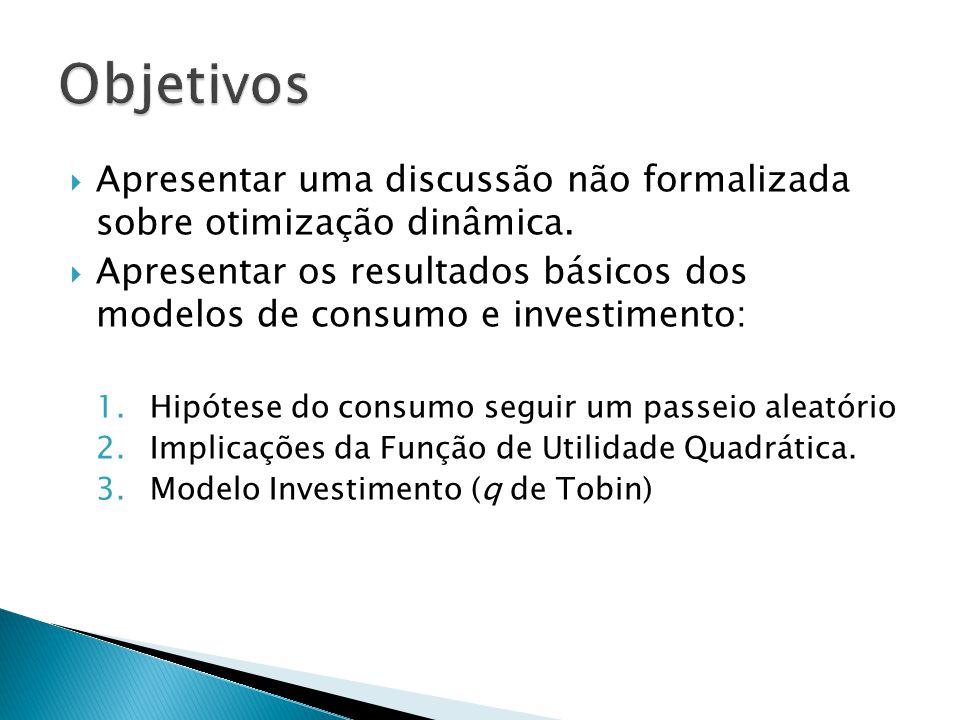 Objetivos Apresentar uma discussão não formalizada sobre otimização dinâmica.