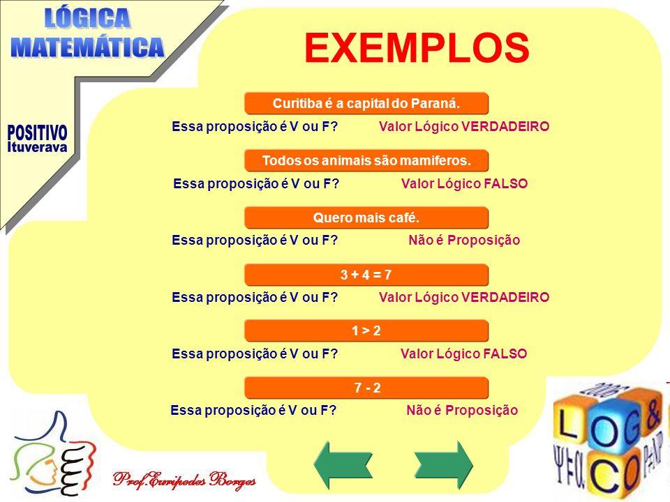 EXEMPLOS Curitiba é a capital do Paraná. Essa proposição é V ou F