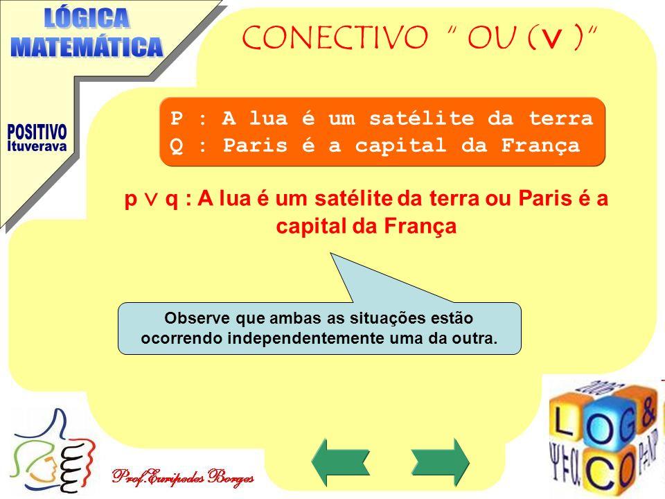 p  q : A lua é um satélite da terra ou Paris é a capital da França
