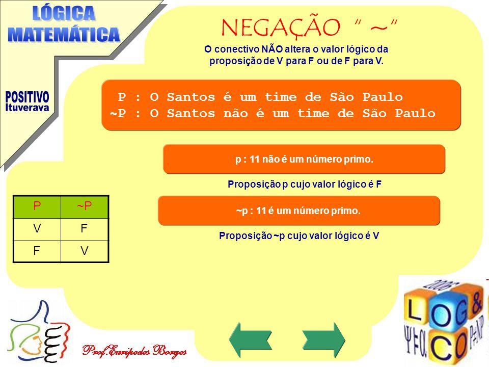 Proposição p cujo valor lógico é F Proposição ~p cujo valor lógico é V