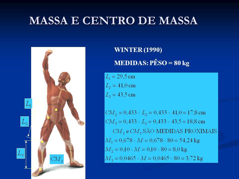 MASSA E CENTRO DE MASSA WINTER (1990) MEDIDAS: PÊSO = 80 kg