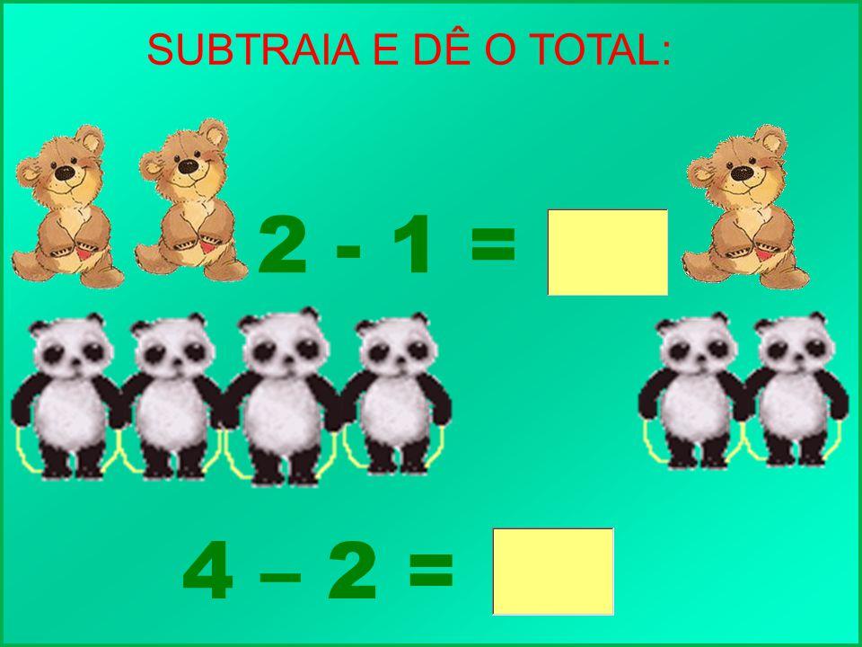 SUBTRAIA E DÊ O TOTAL: 2 - 1 = 4 – 2 =