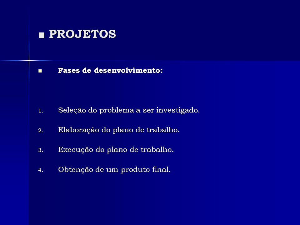 ■ PROJETOS Fases de desenvolvimento: