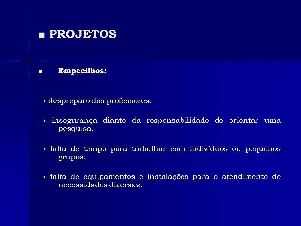■ PROJETOS Empecilhos: → despreparo dos professores.