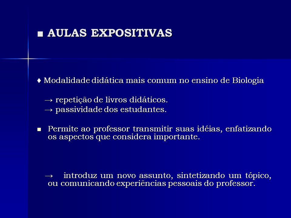 ■ AULAS EXPOSITIVAS ♦ Modalidade didática mais comum no ensino de Biologia. → repetição de livros didáticos.