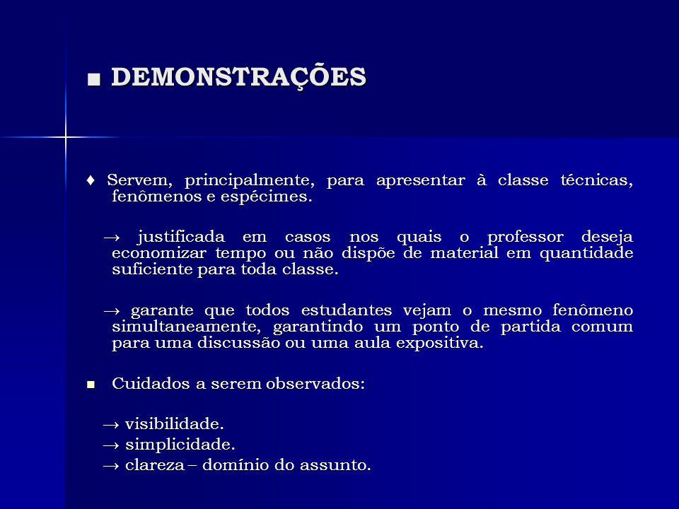 ■ DEMONSTRAÇÕES ♦ Servem, principalmente, para apresentar à classe técnicas, fenômenos e espécimes.