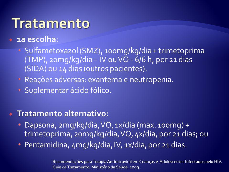 Tratamento 1a escolha: Tratamento alternativo: