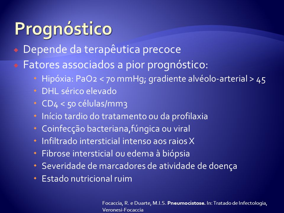 Prognóstico Depende da terapêutica precoce