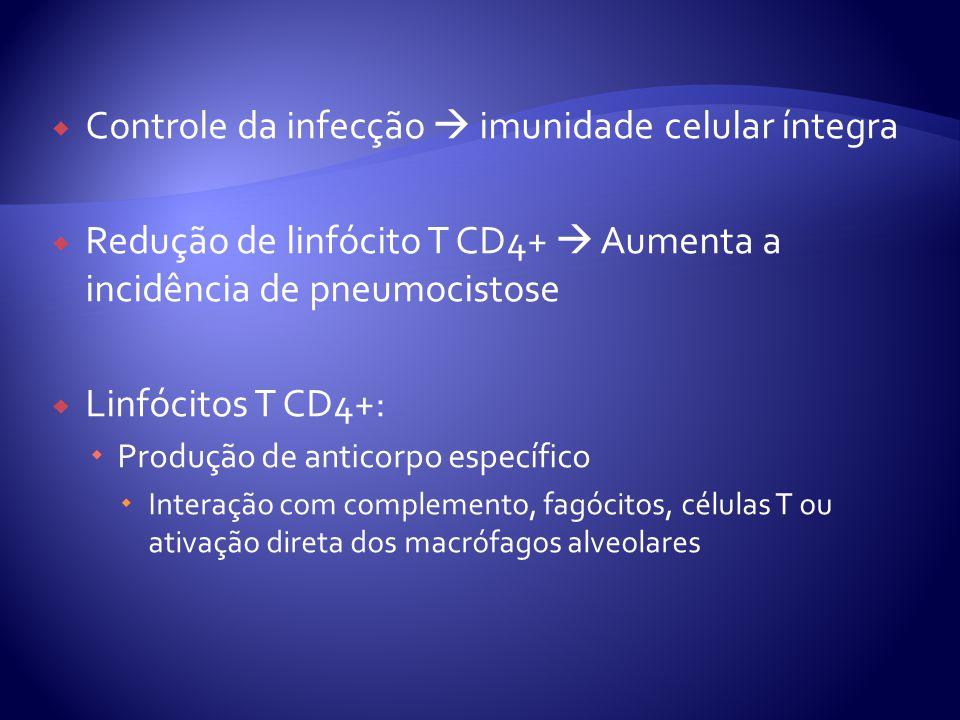 Controle da infecção  imunidade celular íntegra