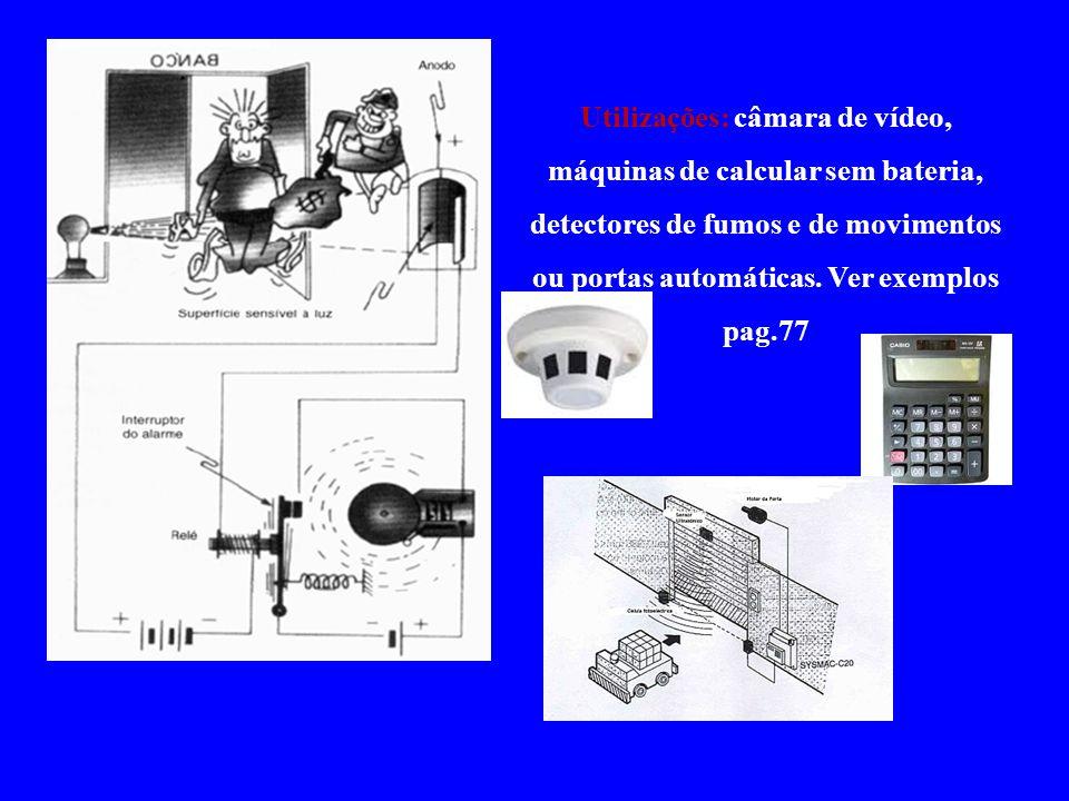Utilizações: câmara de vídeo, máquinas de calcular sem bateria, detectores de fumos e de movimentos ou portas automáticas.