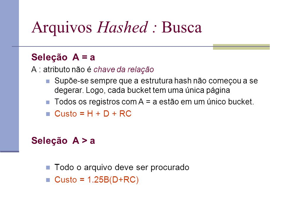 Arquivos Hashed : Busca