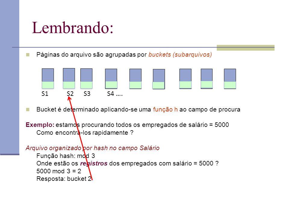 Lembrando: Páginas do arquivo são agrupadas por buckets (subarquivos) Bucket é determinado aplicando-se uma função h ao campo de procura.