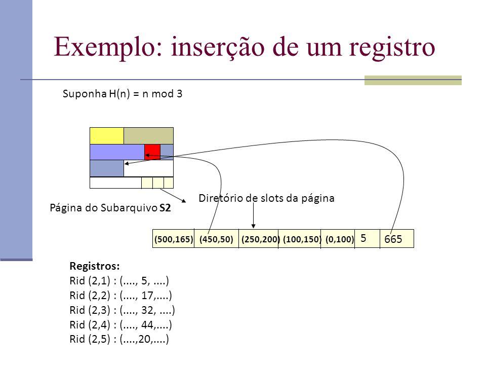 Exemplo: inserção de um registro